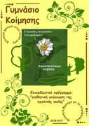 1η αφίσα ανάδειξης δράσεων περιβαλλοντικού προγράμματος αισθητική ανάπλαση Σχολικής αυλής Γυμνασίου Κοίμησης