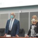 Ο Δήμαρχος Παλλήνης  και η Υπεύθυνη Αντιδήμαρχος Περιβάλλοντος στην τελετή βράβευσης 2020.